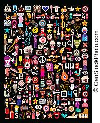 collage, kunst, schwarz