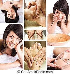 collage, kurbad, skønhed, massage