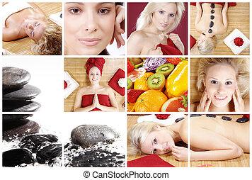 collage, kvinna, massera