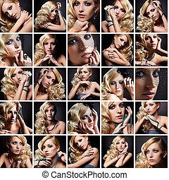 collage, kvinnlig skönhet