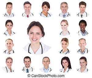 collage, lächeln, doktoren