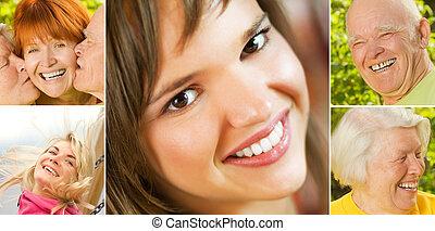 collage, lächelnde leute