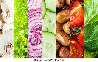collage, légumes frais, fond
