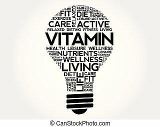 collage, lök, ord, vitamin, moln