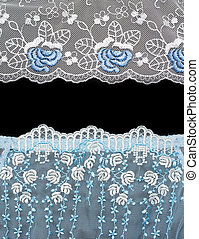 Collage lace with blue pattern in the manner of flower