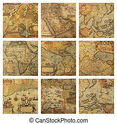 collage, landkaarten, fragmenten, oud