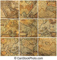 collage, landkaarten, oud