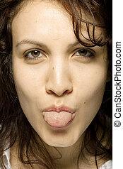 collage, langue, femme, elle, dehors