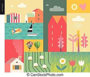 collage, lato, idillic, krajobraz