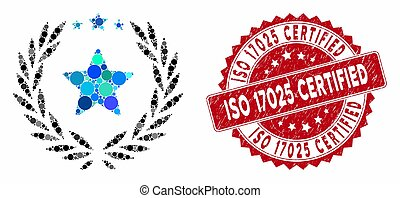 Collage Laurel Star Emblem with Scratched ISO 17025 Certified Stamp