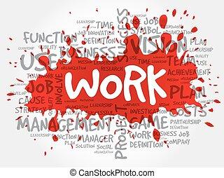 collage, lavoro, parola, nuvola