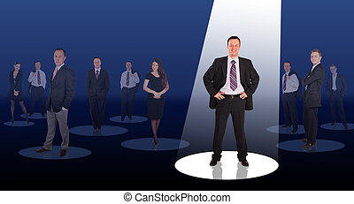 collage, ledare, lysande, stråla, företag