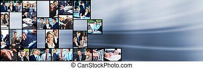collage., leute geschäft, mannschaft
