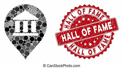 Collage Library Map Marker with Distress Hall of Fame Seal
