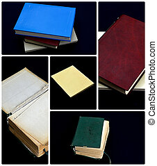 collage, libri, concetto, vario, educazione