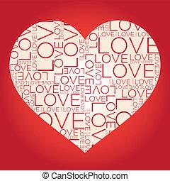 collage, liefde, woord