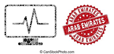 Collage Line Chart Monitoring with Distress Arab Emirates Seal