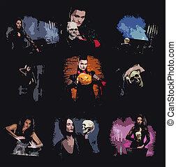 collage, lingerie, jonge vrouwen