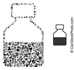 collage, liquide, bouteille, symboles, healthcare