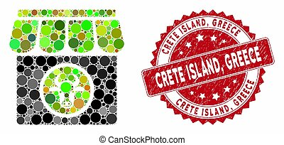 Collage Livestock Farm with Scratched Crete Island, Greece Stamp