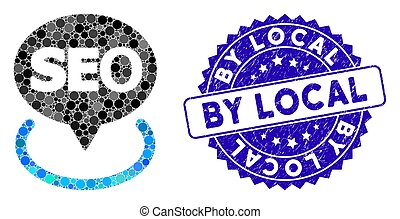 Mosaic local seo icon and distressed stamp seal with By Local caption. Mosaic vector is designed with local seo icon and with randomized round elements. By Local stamp seal uses blue color,