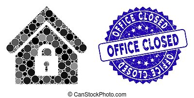 Collage Lock Building Icon with Grunge Office Closed Stamp