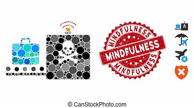 Collage Luggage Airport Control Icon with Textured Mindfulness Stamp