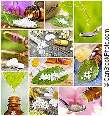 collage, médecine, alternative