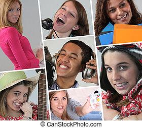 collage, młodzi ludzie