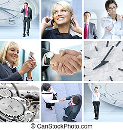 collage made of some different  pictures about business life st