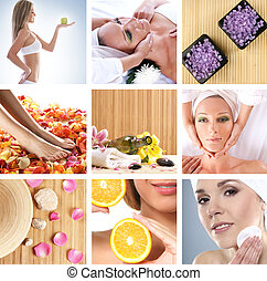 Collage made of some photos about health, beauty, spa and...