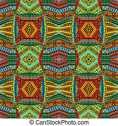 Collage made of textile patchworks - Collage made of african...