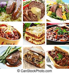 collage, mahlzeiten, rindfleisch