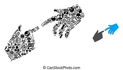 collage, mains, symboles, healthcare, connecter