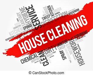 collage, maison, mot, nettoyage, nuage