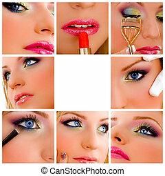 collage, makeup, -, skønhed