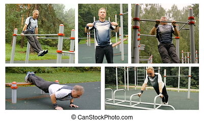 Collage. Man doing exercise in the open air.