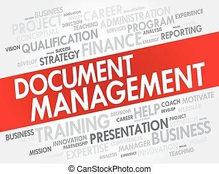 collage, management, woord, document, wolk
