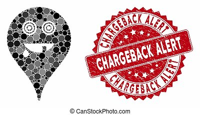 Collage Maniac Smiley Map Marker with Grunge Chargeback Alert Stamp