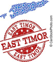 Collage Map of East Timor with Linked Points and Grunge Stamp
