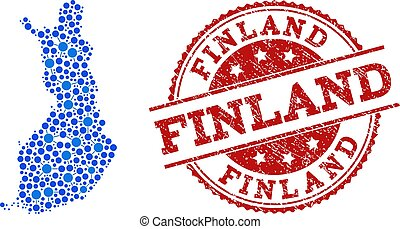 Collage Map of Finland with Connected Circles and Textured Stamp