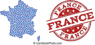 Collage Map of France with Connected Points and Textured Stamp