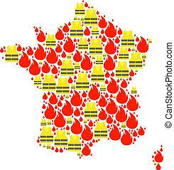 Collage Map of France with Gilet Jaunes Protests