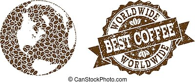 Collage Map of Global World with Coffee Beans and Grunge Stamp