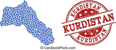 Collage Map of Kurdistan with Linked Points and Textured Stamp