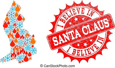 Collage Map of Liechtenstein of Flame and Snow and I Believe in Santa Claus Grunge Stamp