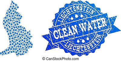 Collage Map of Liechtenstein with Water Dews and Grunge Stamp Seal