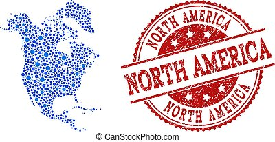 Collage Map of North America with Connected Points and Textured Stamp