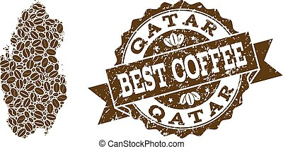 Collage Map of Qatar with Coffee Beans and Textured Stamp