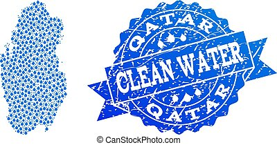Collage Map of Qatar with Water Dews and Grunge Stamp Seal